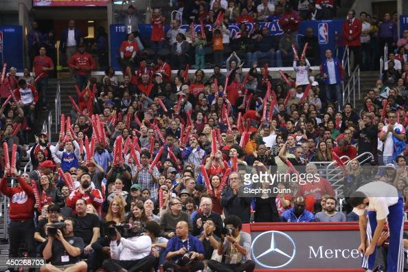 A view of the Los Angeles Clippers home crowd watch the game against the Brooklyn Nets at Staples Center on November 16 2013 in Los Angeles...