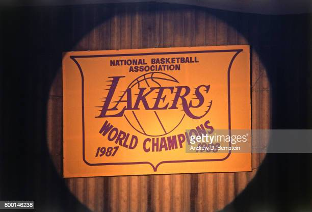A view of the Los Angeles Lakers 19871988 World Championship banner during a game played circa 1989 at the Great Western Forum in Inglewood...
