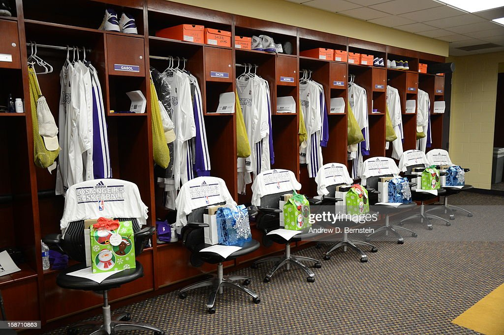 A view of the Los Angeles Lakers locker room before their game against the New York Knicks at Staples Center on December 25, 2012 in Los Angeles, California.
