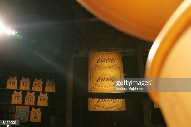 A view of the Los Angeles Lakers' retired jerseys and championship banners before the Boston Celtics take on the Los Angeles Lakers in Game Three of...