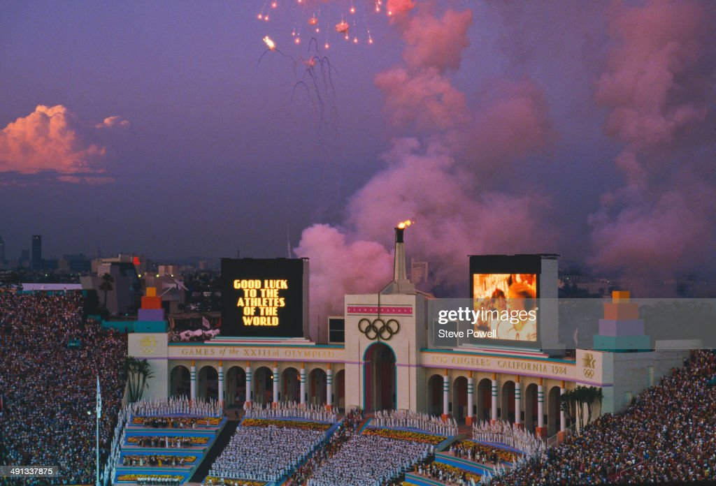 A view of the Los Angeles Memorial Coliseum during the closing ceremony of the 1984 Summer Olympics, Los Angeles, 12th August 1984. The scoreboard has a message reading: 'Good luck to the athletes of the world'.