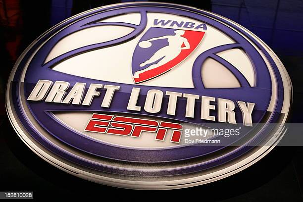 A view of the lottery logo during the 2012 WNBA Draft Lottery at ESPN Studios on September 26 2012 in Bristol Connecticut NOTE TO USER User expressly...
