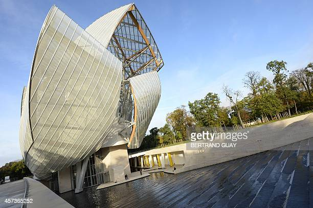 View of the Louis Vuitton Foundation designed by CanadianAmerican architect Frank Gehry in the Bois de Boulogne in Paris on October 17 2014 The...