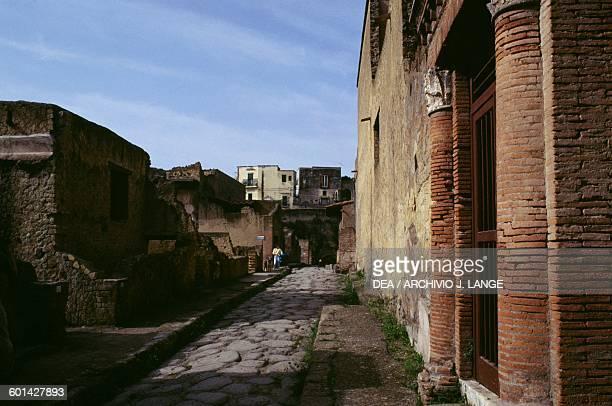 View of the lower decumanus Herculaneum Campania Italy Roman civilisation 1st century AD
