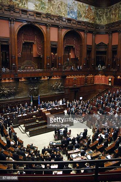 A view of the lower house Chamber of Deputies is seen during the opening session of the Italian parliament on April 28 2006 in Rome Italy This is the...