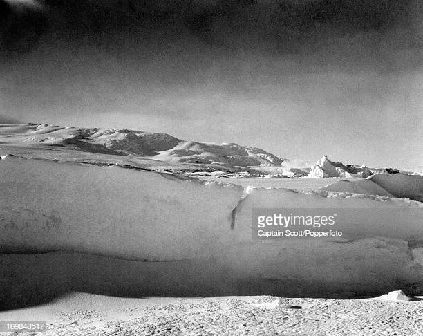A view of the lower reaches of Mount Erebus at Cape Evans photographed during the last tragic voyage to Antarctica by Captain Robert Falcon Scott...
