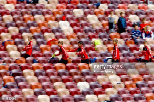 A view of the Luzhniki Stadium during the official kickoff ceremony for the 2018 FIFA World Cup Trophy Tour at Luzhniki Stadium in Moscow Russia on...