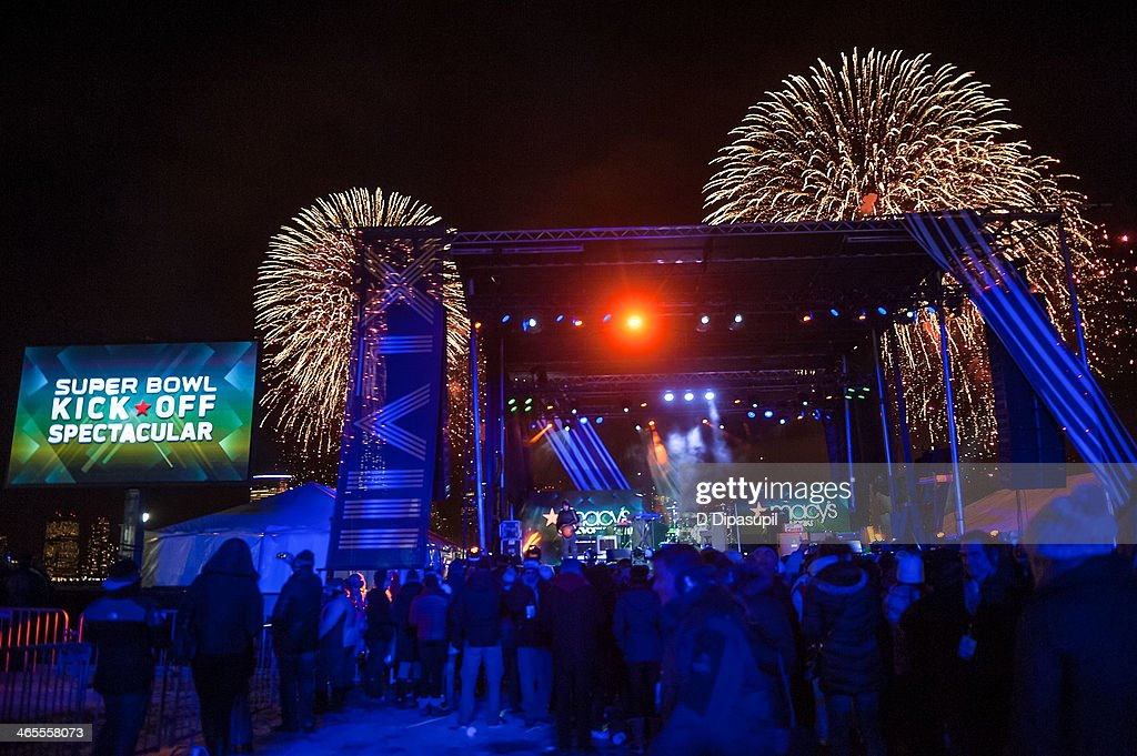 A view of the Macy's Fireworks during the Super Bowl Kickoff Spectacular at Liberty State Park on January 27, 2014 in Jersey City, New Jersey.
