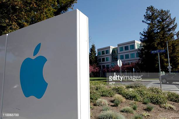 A view of the main entrance to Apple Inc in Cupertino California on March 11 2011 AFP PHOTO/Ryan Anson