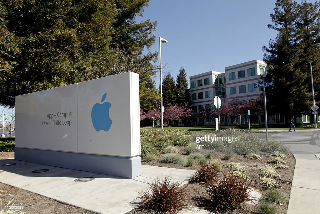 A view of the main entrance to Apple Inc in Cupertino California on Friday March 11 2011 AFP PHOTO/Ryan Anson