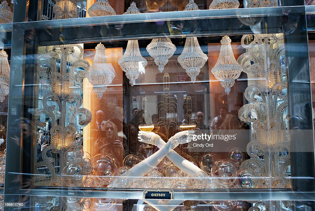 A view of the main Fifth Ave. window display during the Great Gatsby Window Unveiling at Tiffany & Co. on April 17, 2013 in New York City.