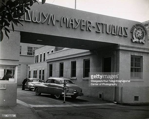 View of the main gate of the MetroGoldwynMeyer film studios Culver City California early 1950s Photo by Weegee/International Center of...