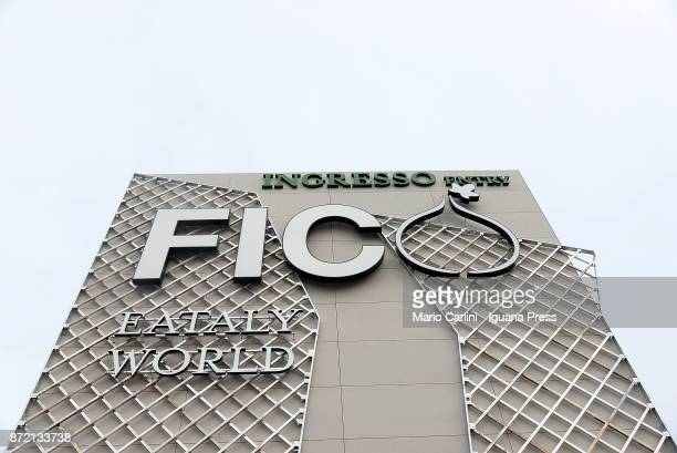 view of the main logo of FICO as shown on the press preview at CAAB FICO Agro Food Center on November 9 2017 in Bologna Italy Fico it's the world's...