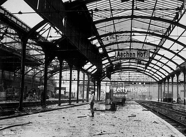 A view of the main railway station at Aachen after the Germans left the city