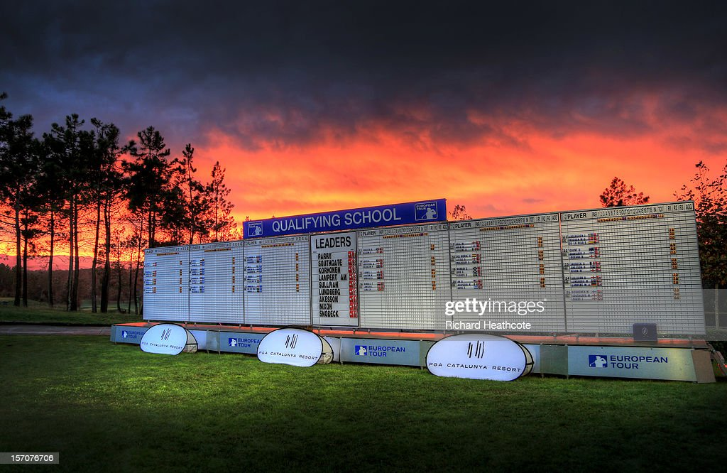 A view of the main scoreboard as the sun sets behind after the fifth round of the European Tour Qualifying School Finals at PGA Catalunya Resort on November 28, 2012 in Girona, Spain.