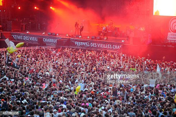 View of the main stage during the Artic Monkey concert on July 19 2014 during the 23rd Festival des Vieilles Charrues in CarhaixPlouguer western...