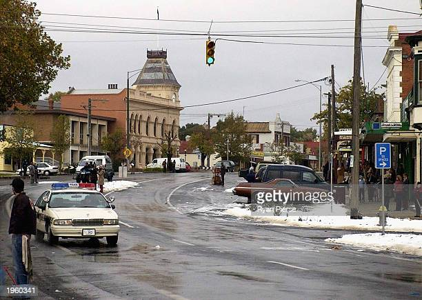 A view of the main street transformed using artificial snow during the shooting of the miniseries 'Salems Lot' on April 30 2003 in the country town...