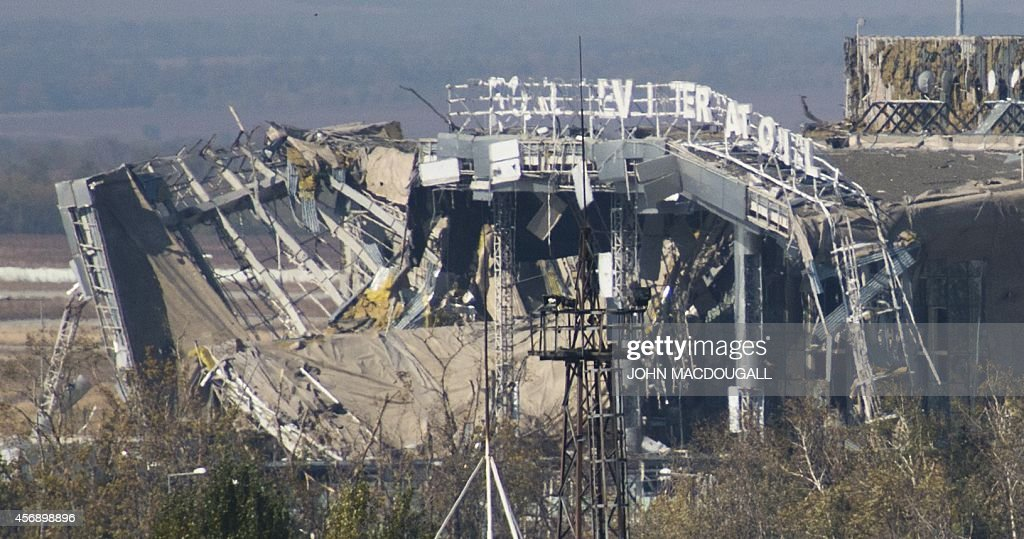 View of the main terminal of Donetsk's Sergey Prokofiev international airport taken on October 9 after weeks of shelling between Ukrainian army...