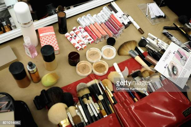 A view of the makeup kits backstage during SWIMMIAMI Sports Illustrated Swimsuit 2018 Collection at WET Deck at W South Beach on July 22 2017 in...