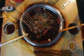 A view of the 'Malatang' snack hot pot at a street booth on May 10 2005 in Chongqing Municipality China 'Malatang' is a traditional snack in...