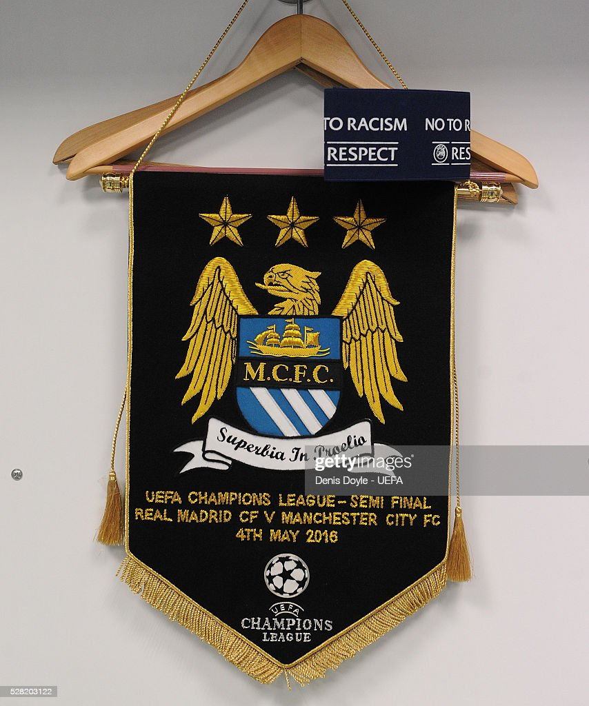 View of the Manchester City pennant in their dressing room for the UEFA Champions League Semi Final second leg match between Real Madrid and Manchester City FC at Estadio Santiago Bernabeu on May 4, 2016 in Madrid, Spain.
