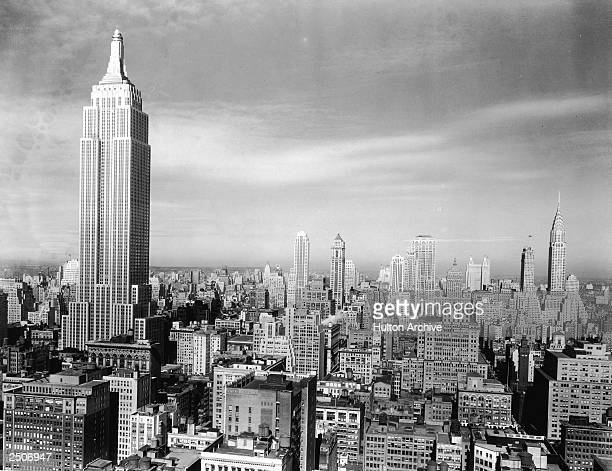 View of the Manhattan skyline with the Empire State Building and Chrysler Building New York City 1940s