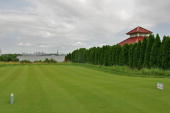 A view of the Manhattan skyline with the14th tee markers reoriented photographed at Liberty National Golf Club on July 1 2009 in Jersey City New...