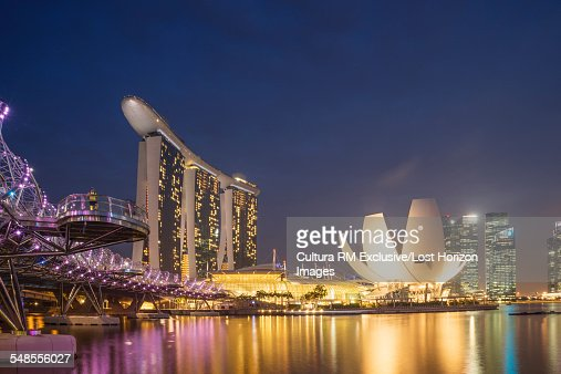 View of the Marina Bay Sands Hotel and the Art and Science Museum at night, Singapore
