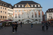View of the Marktplatz originated in the 11th century with its baroque old Town Hall in Bonn Germany 08 September 2014 Bonn that offers many...