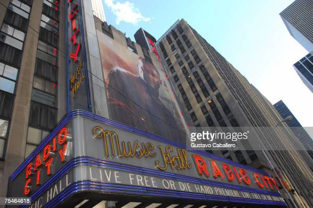 A view of the marquee during the ''Live Free Or Die Hard'' Premiere at Radio City Music Hall June 22 2007 in New York City