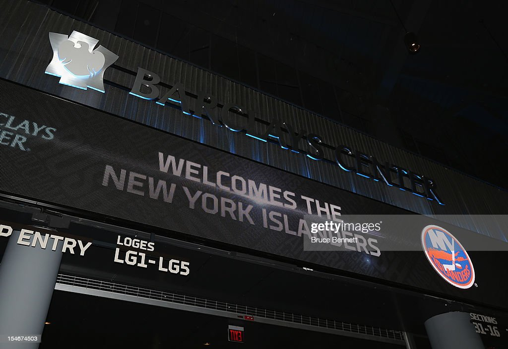 A view of the matrix board anouncement of the New York Islanders' move to Brooklyn at the Barclays Center on October 24, 2012 in the Brooklyn borough of New York City.