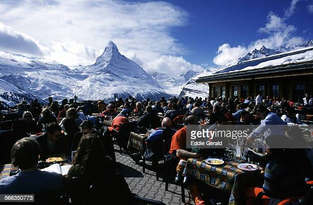 View of the Matterhorn a mountain straddling the border between Switzerland and Italy and one of the highest summits in the Alps and Europe