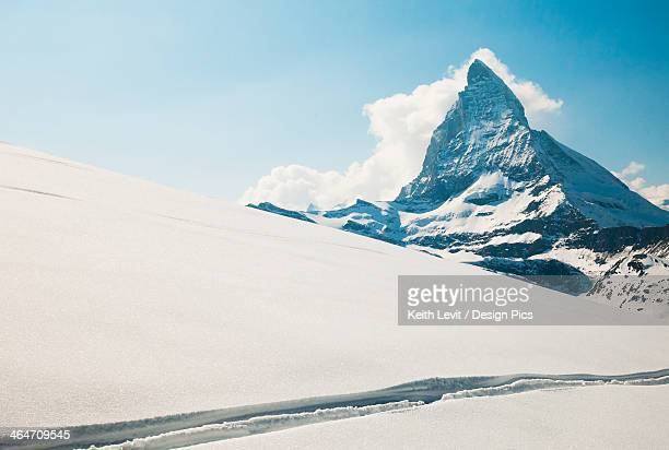 View Of The Matterhorn From A Snow Covered Plateau