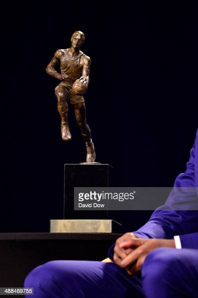 A view of the Maurice Podoloff Trophy for the 201314 KIA Player of the Year award during a press conference on May 6 2014 at the Thunder Events...