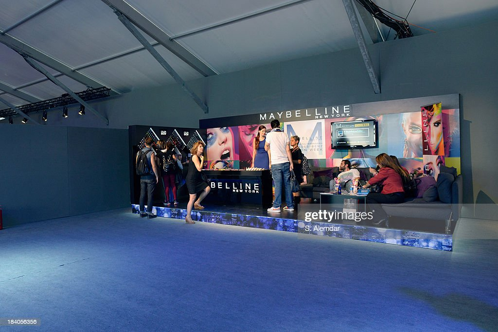 A view of the Maybelline booth at the Mercedes-Benz Fashion Week Istanbul s/s 2014 presented by American Express on October 11, 2013 in Istanbul, Turkey.
