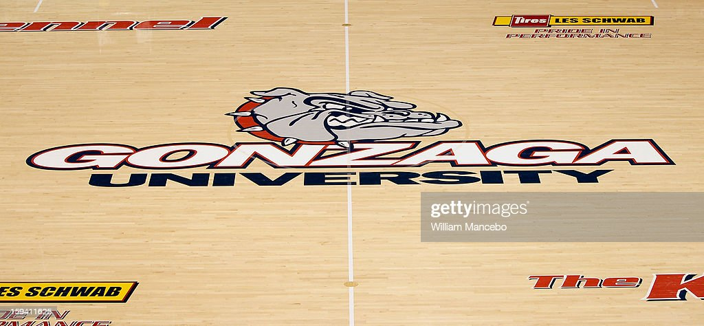 A view of the McCarthey Athletic Center basketball floor showing Gonzaga University's logo prior to the game between the Saint Mary's Gaels and the Gonzaga Bulldogs on January 10, 2013 in Spokane, Washington.