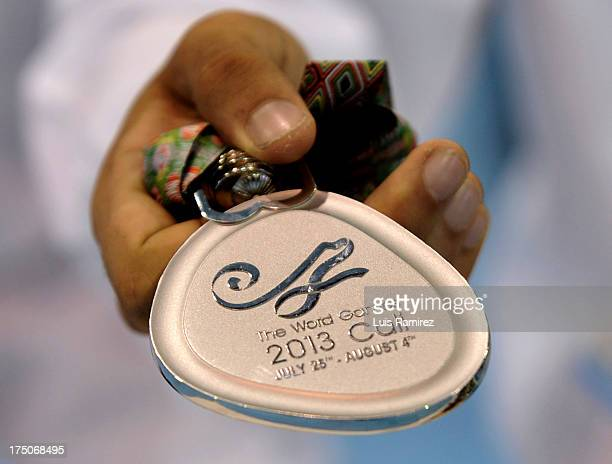 View of the medal with an error 'Word Games' instead of 'World Games' during the sixth day of the IX World Games Cali 2013 on July 30 2013 in Cali...