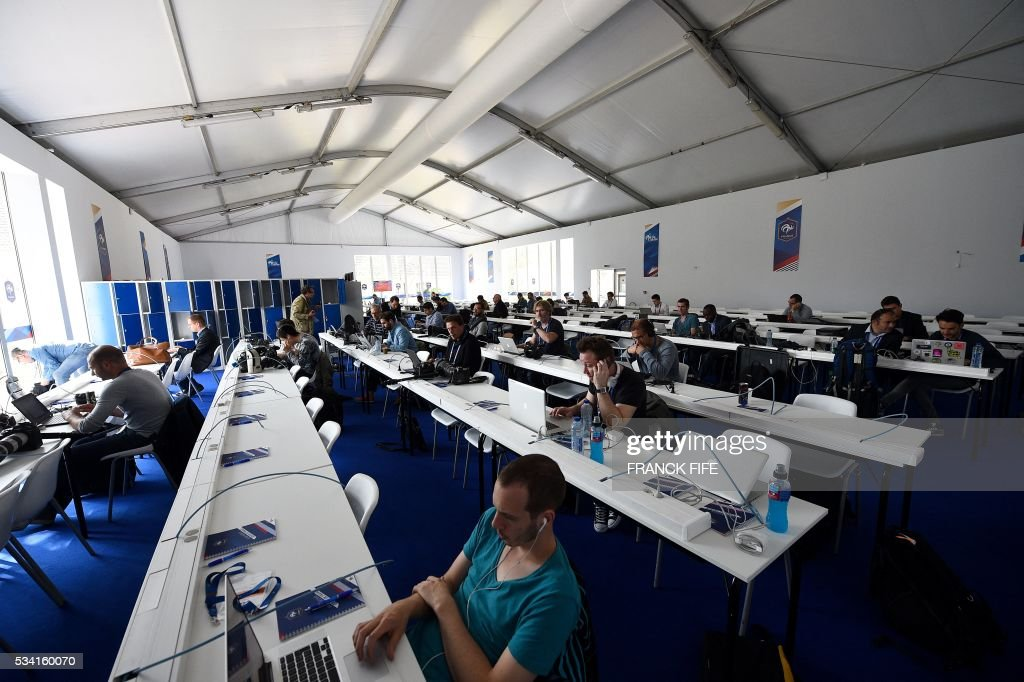 A view of the Media Center in Clairefontaine on May 25, 2016, part of the upcoming Euro 2016 European football championships facilities. / AFP / FRANCK