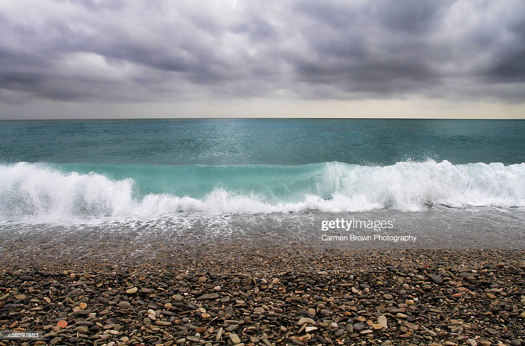 View of the Mediterranean after a storm : Stock Photo