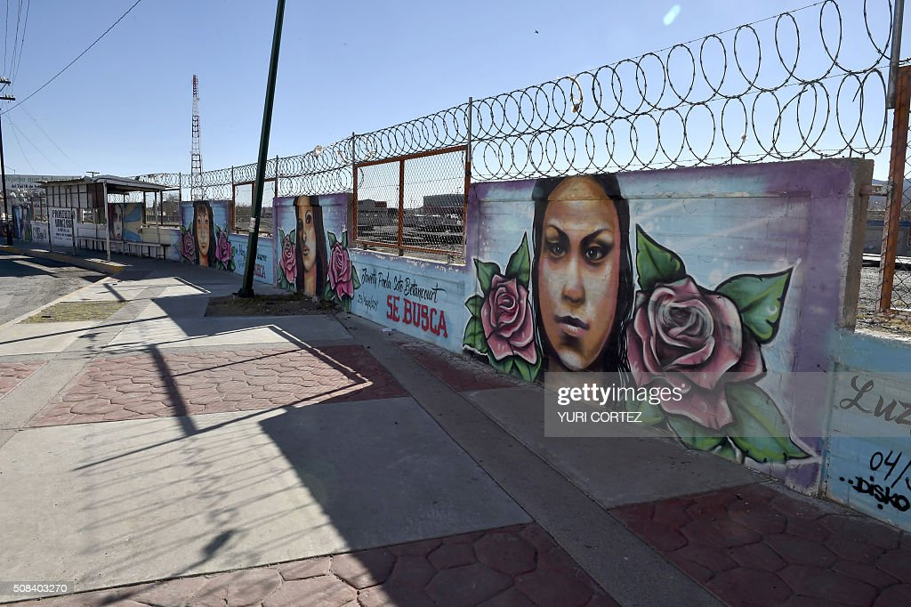 View of the memorial wall with images of missing girls in Ciudad Juarez Mexico on February 3 2016 Hundreds of mothers who look for her daughters...