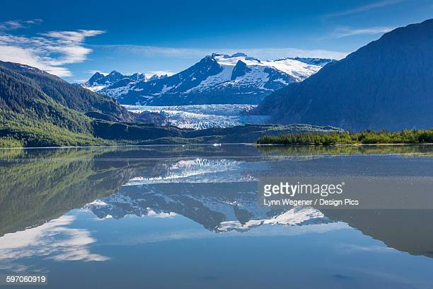 View of the Mendenhall Glacier reflected in Mendenhall Lake near Juneau, Southeast Alaska, Summer