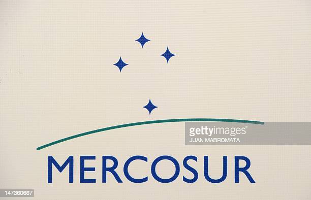 View of the Mercosur's logo during the XLIII Mercosur summit in Mendoza 1050 Km west of Buenos Aires Argentina on June 28 2012 Foreign ministers of...