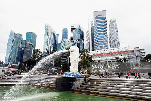 A view of the Merlion and the Singapore financial district near the Singapore River on March 9 2015 in Singapore