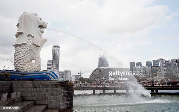 A view of the Merlion and the Singapore River on March 9 2015 in Singapore