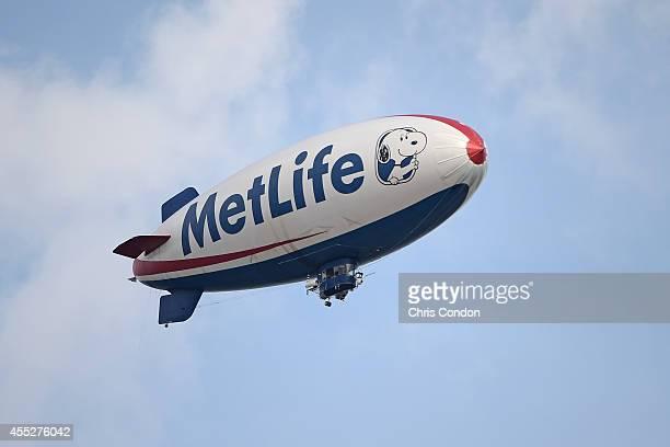 A view of the MetLife blimp during the first round of the TOUR Championship by CocaCola the final event of the PGA TOUR Playoffs for the FedExCup at...