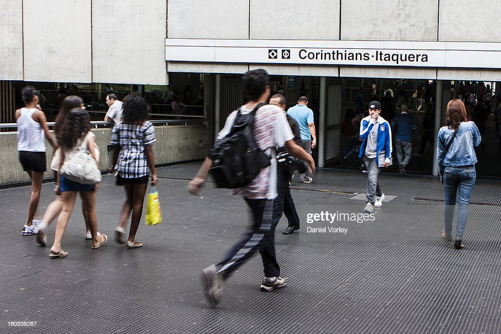 View of the metro station Corinthians-Itaquera, close to the Arena Sao Paulo in Itaquera on January 29, 2013 in Sao Paulo, Brazil.
