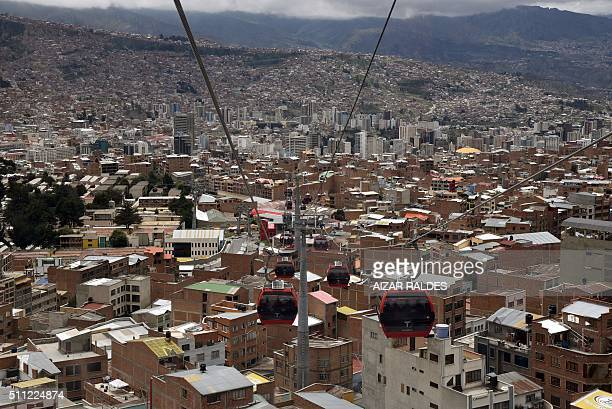 TOPSHOT View of the metropolitan cable railway linking El Alto with La Paz on February 18 2016 AFP PHOTO / AIZAR RALDES / AFP / AIZAR RALDES