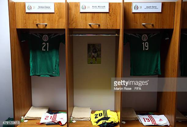 A view of the Mexico dressing room prior battle for the ball during the FIFA U17 Women's World Cup 2014 group D match between Mexico and Colombia at...