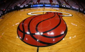 A view of the Miami Heat logo on the court during Game One of the Eastern Conference Finals between the Miami Heat and the Indiana Pacers at...