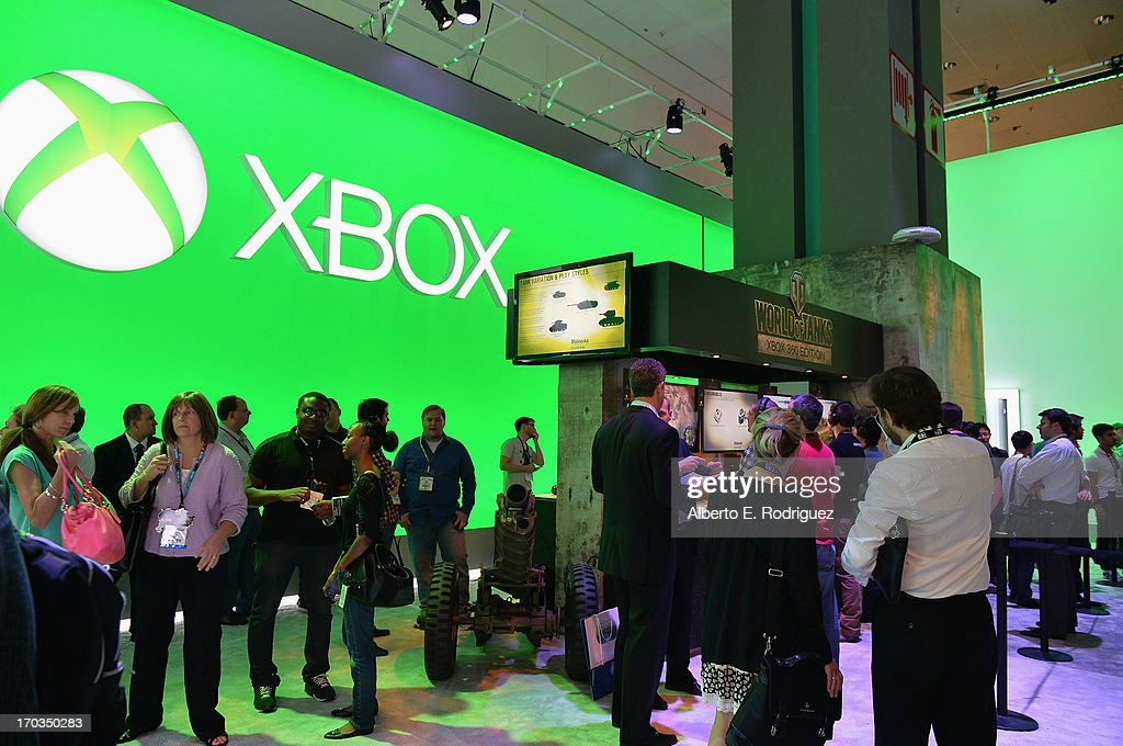 A view of the Microsoft X-Box display at the E3 Gaming and Technology Conference at the Los Angeles Convention Center on June 11, 2013 in Los Angeles, California.